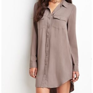 Forever 21 Taupe Shirt Dress